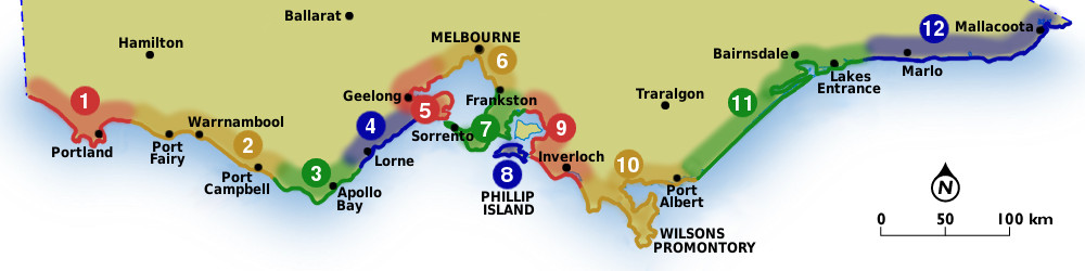 Map Of Victoria Australia With Cities.Coastal Regions Cities Towns Beach Stays Beach And Coast
