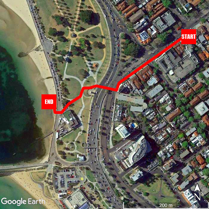 Beach walking map - Rydges St Kilda
