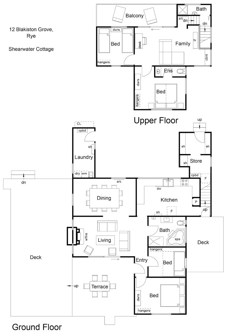 Blue Moon Cottages - Shearwater Cottage - Floor plan