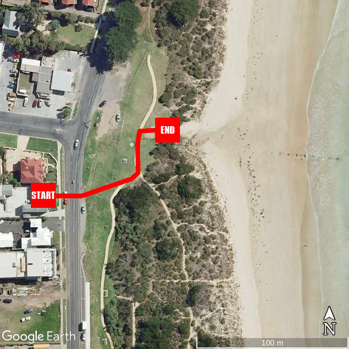 Beach walking map - Waterfront Motor Inn