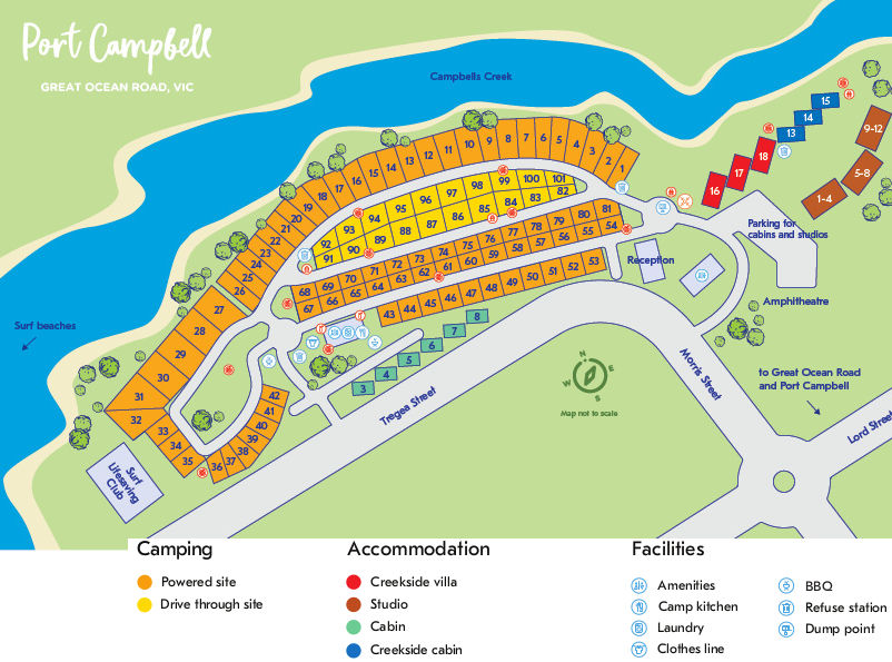 NRMA Port Campbell Holiday Park - Park map